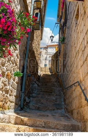 Narrow Street In The Old Town Of Perast, Montenegro