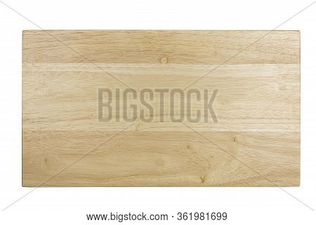 Top View Wooden Tray. Wooden Board Isolate On White Background.