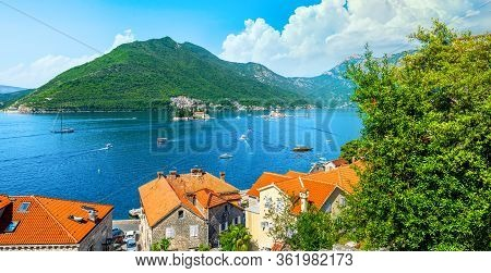 Historic City Of Perast At Bay Of Kotor In Spring, Montenegro