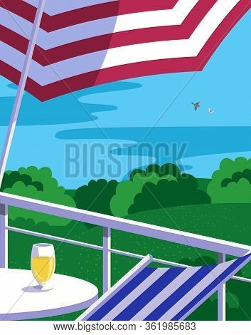 Summer Outdoor Leisure Time Background Flat Vector. Sunshade Umbrella On Country House Balcony Carto