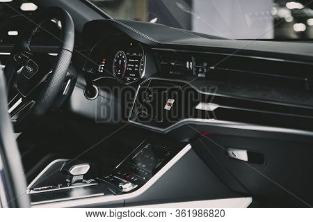 Moscow. Russia - January 16, 2020: Interior Of A Premium Sedan Audi A7 Sportback Ultra Nova Gt 1 Of
