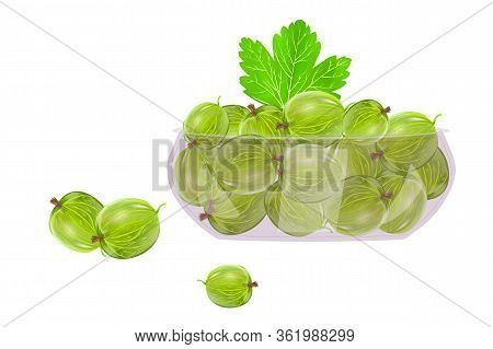 Gooseberries In Glass Bowl Isolated On White Background. Beautiful Juicy Berries In Deep Dish Plate.