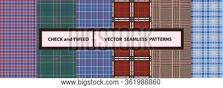 Check And Tweed Seamless Patterns Set. High Quality Precise Seamless Patterns