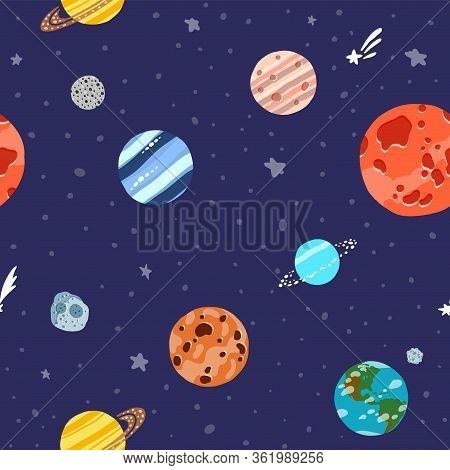 Cosmic Fabric For Kids. Cute Design For Kids Fabric And Wrapping Paper. Solar System Planets Repeate