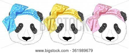 Hand Drawn Illustration Of The Head Of A Panda Girl With A Bow In The Style Of The 60s And A Panda M