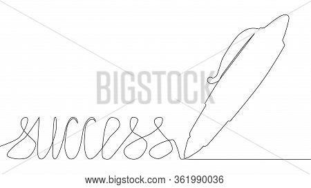 One Line Drawing. A Pen Writes The Word Success. Solid Line Art. Ball Pen. Biro. Hand Drawn Minimali