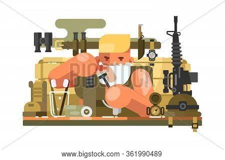 Soldier Scrapes Chin Vector Illustration. Man Shaving