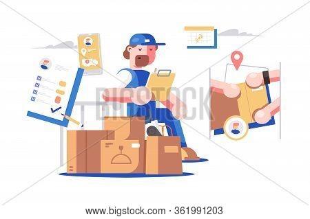 Delivery Man At Work Vector Illustration. Deliverer
