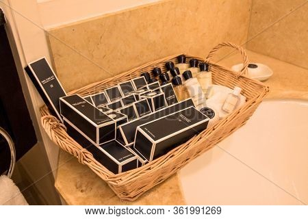 Chicago, Illinois, United States - Dec 12th, 2015: Hotel Amenities Kit In The Toilet Of A Luxus Suit