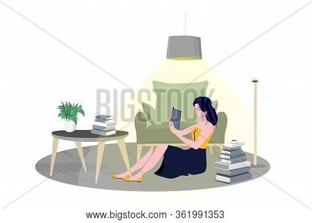 Girl Reading Book And Resting In Home Room In Armchair, Student Read And Study, Literature Fan Or Lo