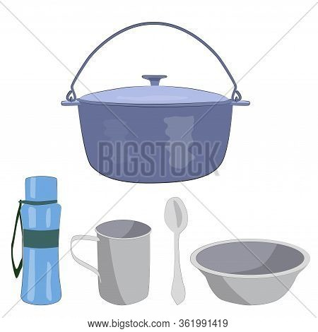 Boiler, Bowl, Mug, Spoon, Water Bottle For Camping In The Summer.
