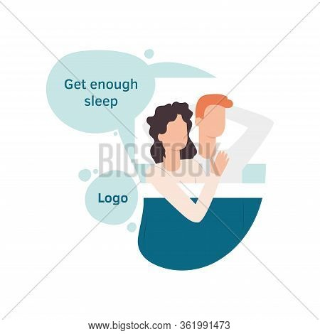 Cute Vector Characters Sleeping Together At Night. Man And Woman Lying In Bed. Stages Of Sleep, Inso