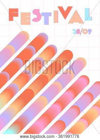 Music Cover In Blue, Violet, Pink, Green Colors. School Concert Flyer. Minimal Line Brochure. Sound
