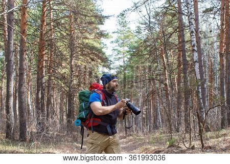 Bird Watcher Walks Through The Woods With A Camera And Going To Take A Photo Of A Bird.