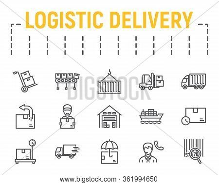 Logistics Shipping Line Icon Set, Delivery Symbols Collection, Vector Sketches, Logo Illustrations,