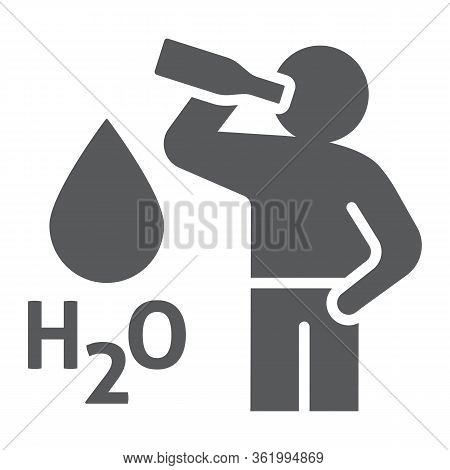 Stay Hydrated Glyph Icon, Healthy And H2o, Drink Water Sign, Vector Graphics, A Solid Icon On A Whit