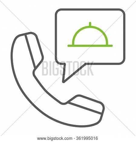 Call Food Order Color Line Icon, Service And Food, Food Order Sign, Vector Graphics, A Linear Icon O