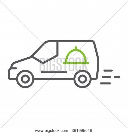 Food Delivery Van Color Line Icon, Service And Delivery, Fast Delivery Sign, Vector Graphics, A Line