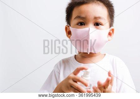 Closeup Portrait Asian Little Child Boy Holding Show Bottle Pump Dispenser Sanitizer Alcohol Spray H