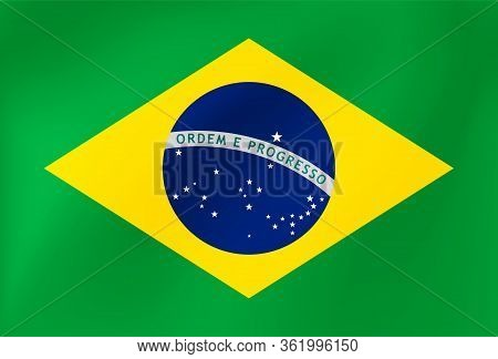 Brazil National Flag With Wavy Silk Texture