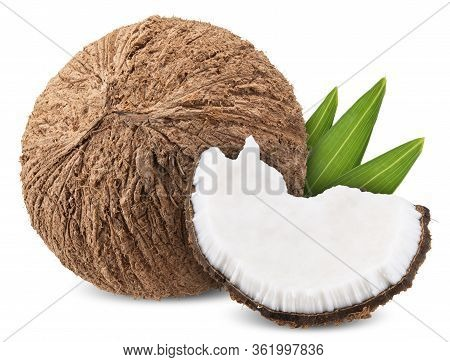 Coconut Isolated On White, Coconut Clipping Path All Focus