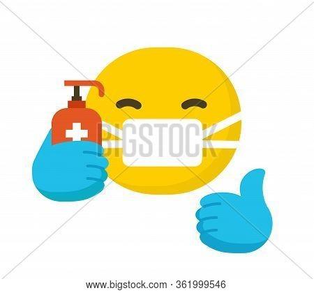 Emoticon Wearing Surgical Protective Mask , Emoji Isolated On White Background, Flat Vector Illustra