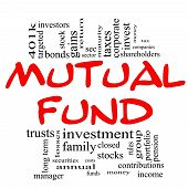 Mutual Fund Word Cloud Concept in red & black with great terms such as sec investors taxes money 401k income portfolio and more. poster
