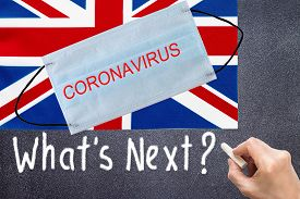 Flag Of Great Britain With Disposable Mask And Coronavirus Inscription. Global Covid-19 Coronavirus