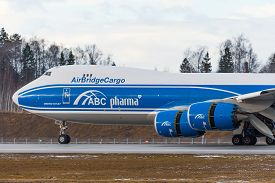 Boeing 747-8f Air Bridge Cargo Pharma Landing At The Russia Moscow Sheremetyevo International. 24 Fe