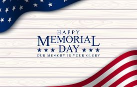 Memorial Day With, Vector Image, Poster And Banner For The Holiday And Sales Day. American Flag On T