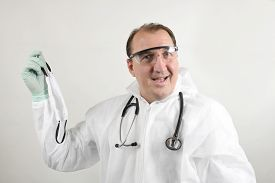 Happy Doctor Wear The Medical Uniform Mask To Protect And Fight Infection From Germ, Bacteria, Covid