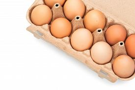 Brown Chicken Eggs In An Open Cardboard Box With Eggs Isolated On White. Fresh Chicken Eggs Backgrou