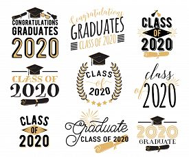 Congratulation Graduation Wishes Overlays, Lettering Labels Design Set. Retro Graduate Class Of 2020