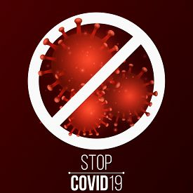 Covid 19 3d Virus Microbe. Science Background. Symbol Stop. Pathogen Organism. Medical Banner. Vecto