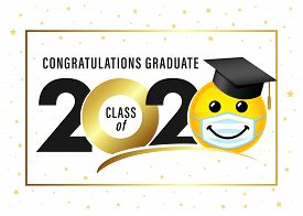 Graduating Class Of 2020 With Smile In Academic Cap & Medical Mask. Yellow Smiling Emoji Wearing A W