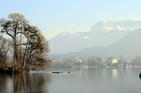 Annecy Lake And City On Winter Morning