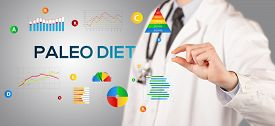 Nutritionist giving you a pill with PALEO DIET inscription, healthy lifestyle concept