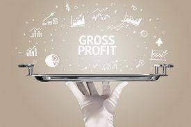 Waiter serving business idea concept with GROSS PROFIT inscription
