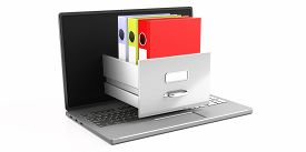 Online Office Filing, Document Data Archive Storage. Computer Laptop Isolated On White Background. D