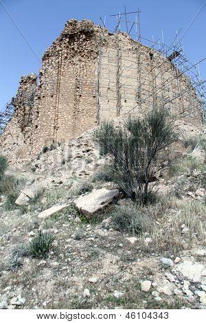 Restoration of zoroastrian temple Qal'eh-e Doktar in Firuz Abad poster