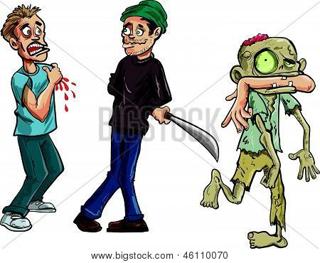 Cartoon of zombie biting a mans arm off