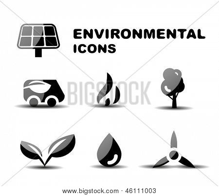 Black glossy environmental vector icon set