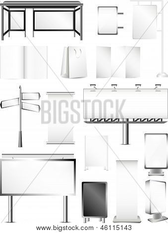 advertising areas and packagings big detailed vector set poster