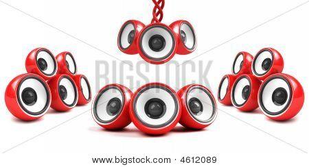 Red Stylish High-power Futuristic Audio System