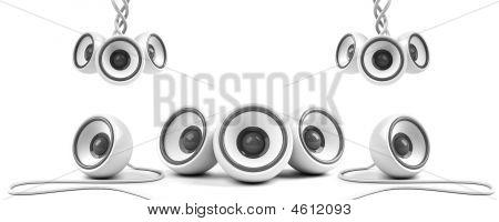 White Stylish High-power Stereo System