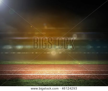 Image of stadium in lights and flashes poster