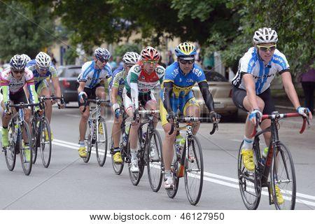 KIEV, UKRAINE - MAY 24: Main group of riders in the bicycle racing Race Horizon Park in Kiev, Ukraine on May 24, 2013