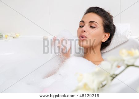 beautiful woman in the bath room