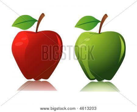 Apple on white background art vector illustration poster