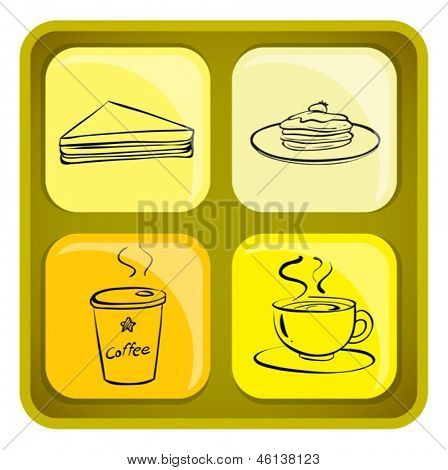 Illustration of the four snack icons on a white background